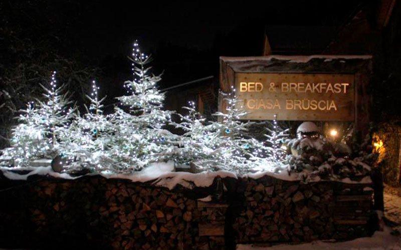 Bed and breakfast Ciasa Brüscia insegna con alberi illuminati a festa